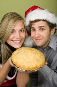 happy, pie, 2 people