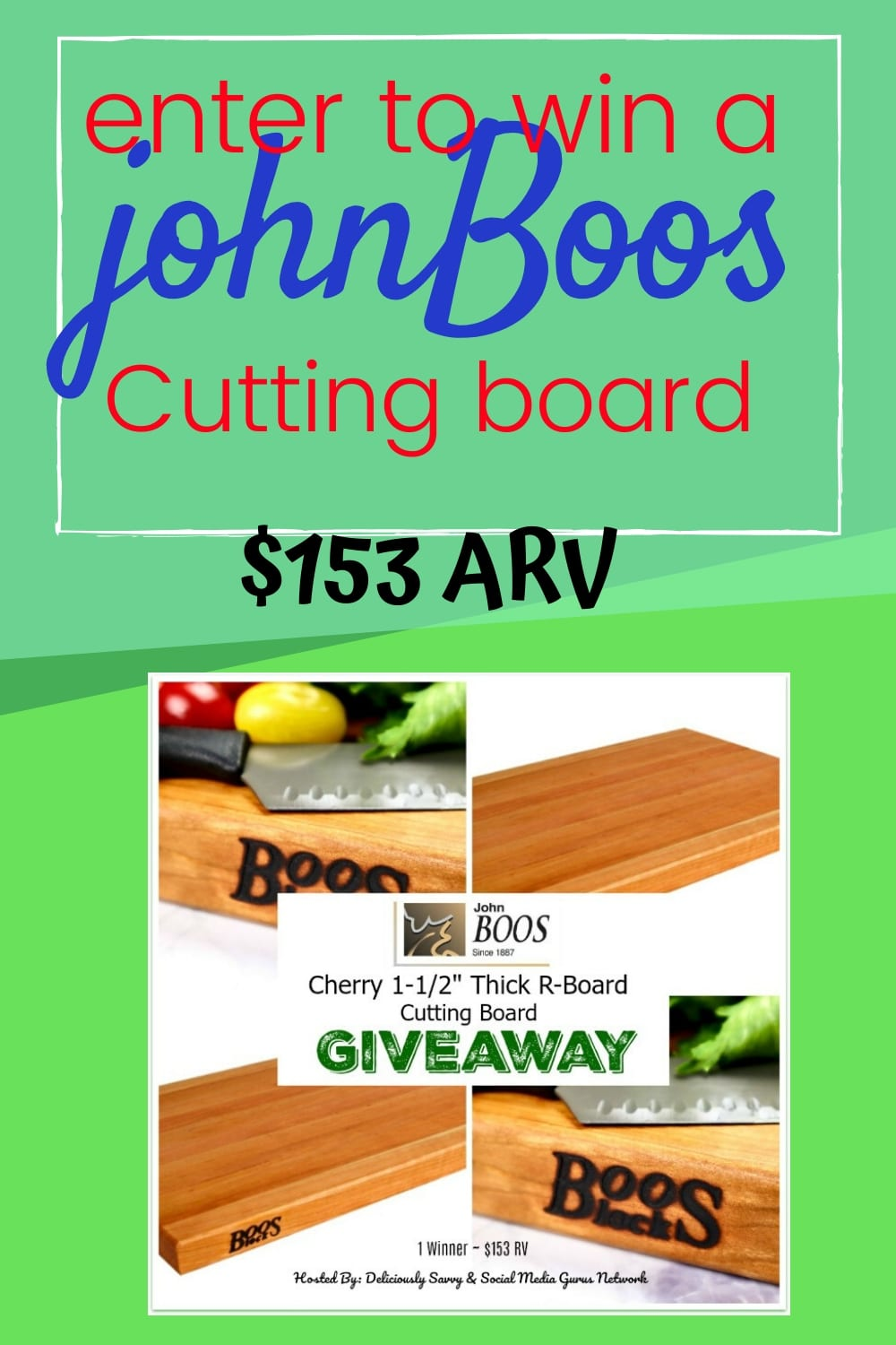 Enter to win a John Boos Cutting Board ($153 Value) ~ Giveaway ends 5-14
