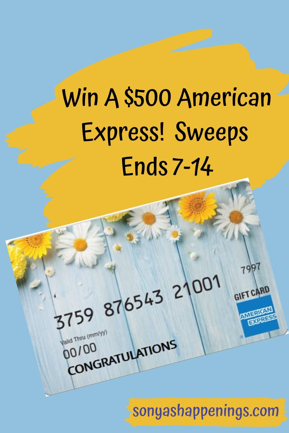Win a $500 American Express gift card ~ sweeps ends 7-14