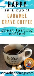 crave caramel coffee, simply happy