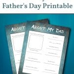 about my Dad, Father's day printable