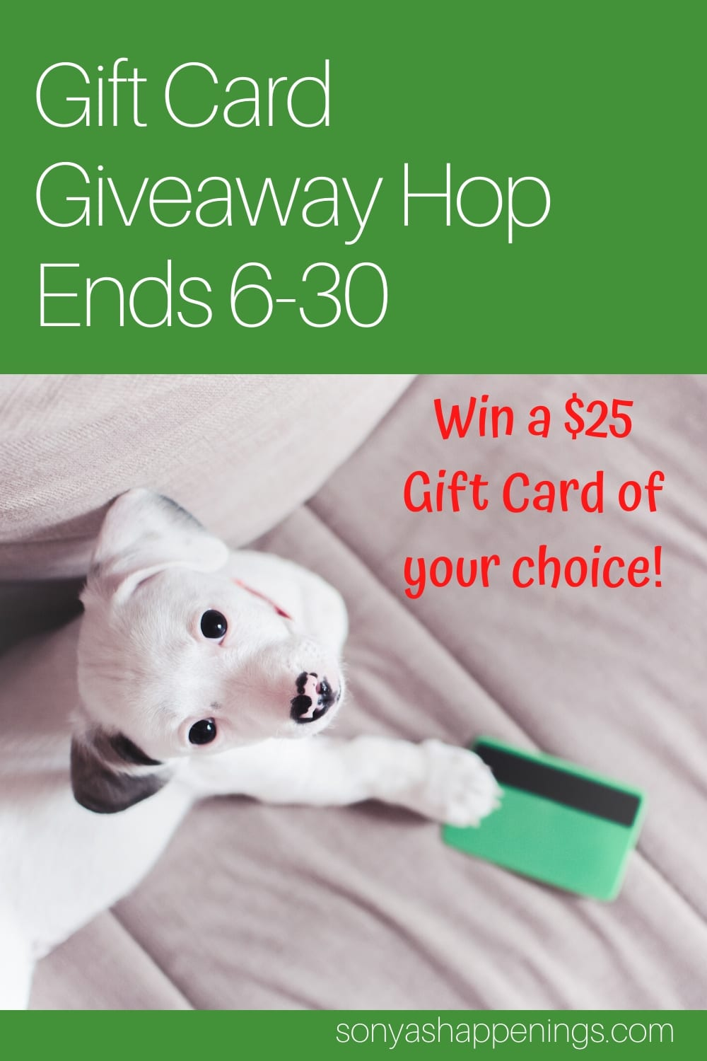 Win a $25 gift card (your choice) #GiftCardHop ~ Giveaway hop ends 6-30