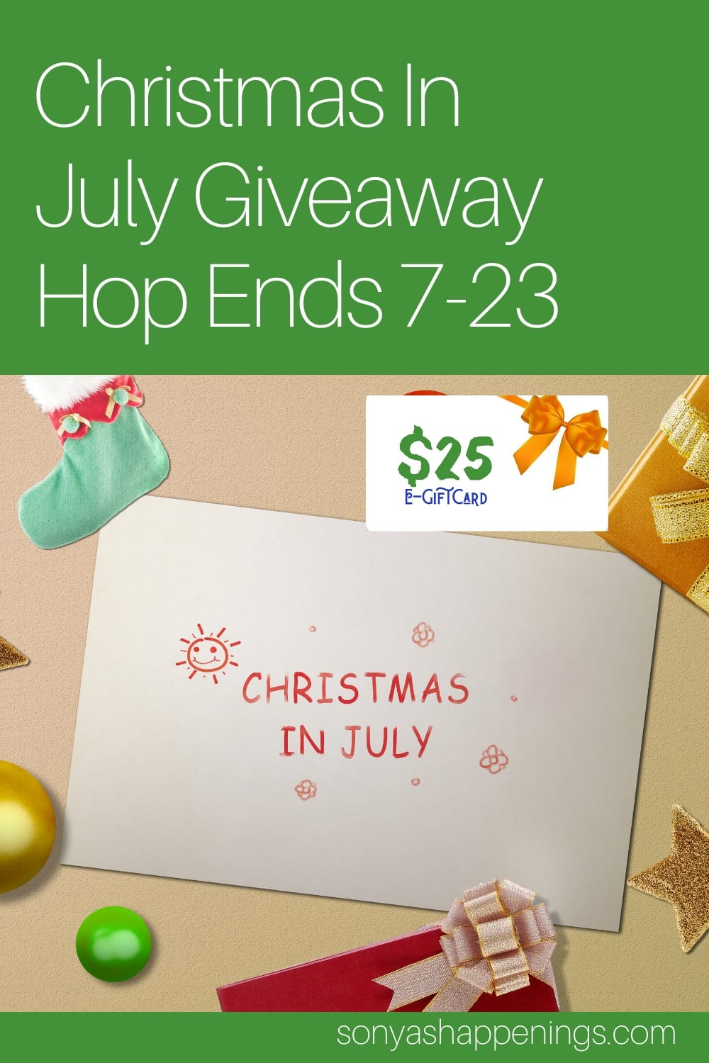 Win a $25 gift card ~ giveaway ends 7-23 #ChristmasInJulyHop