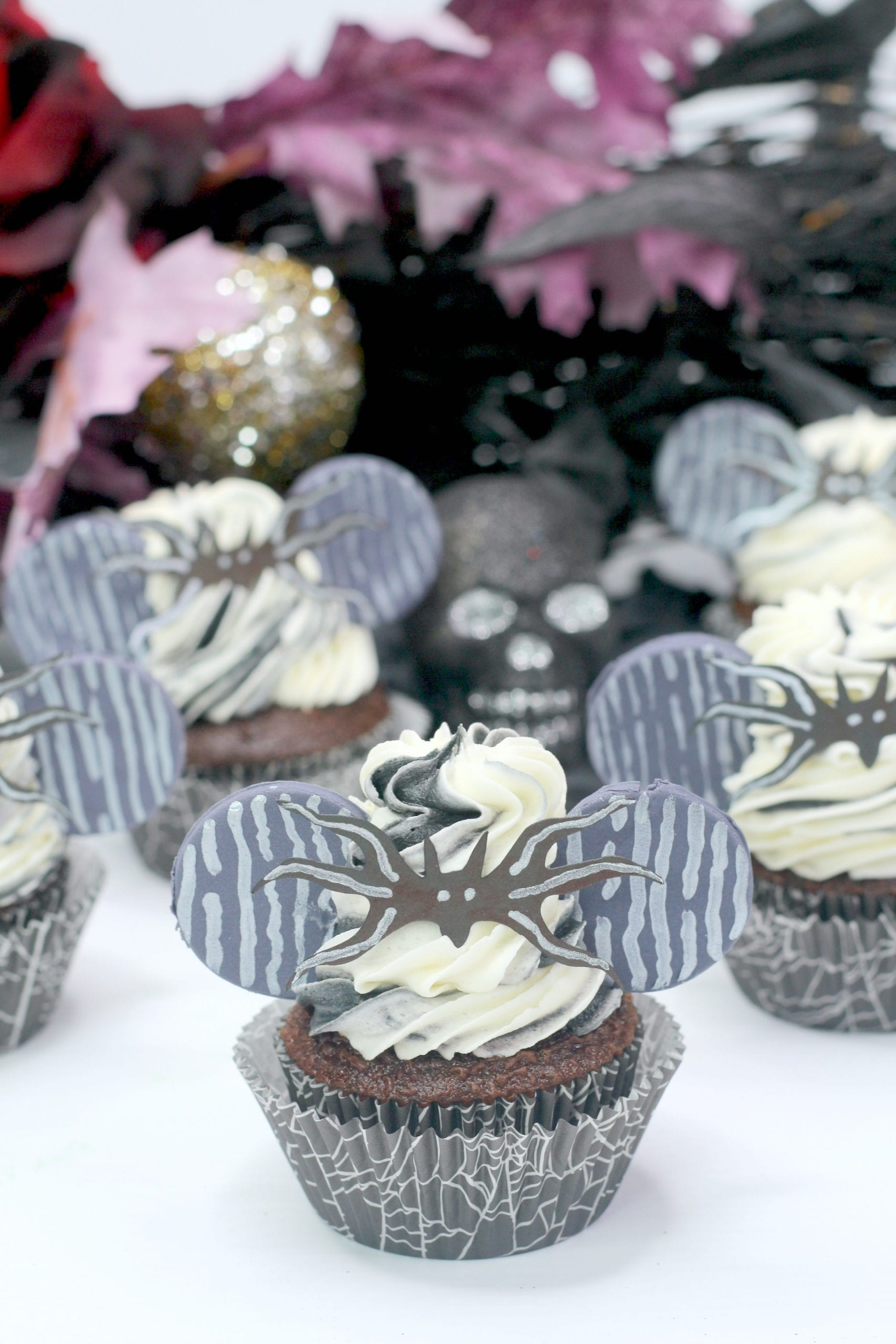 Halloween Cupcakes~ Jack Skellington Minnie Ears!
