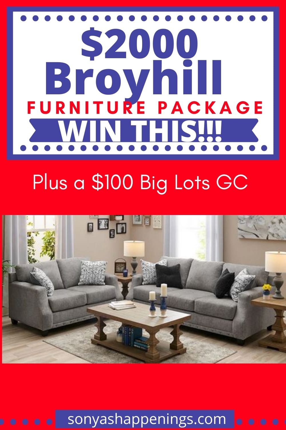 Win a $2000 Broyhill furniture package and $100 Big Lots GC ~ sweeps ends 9-30