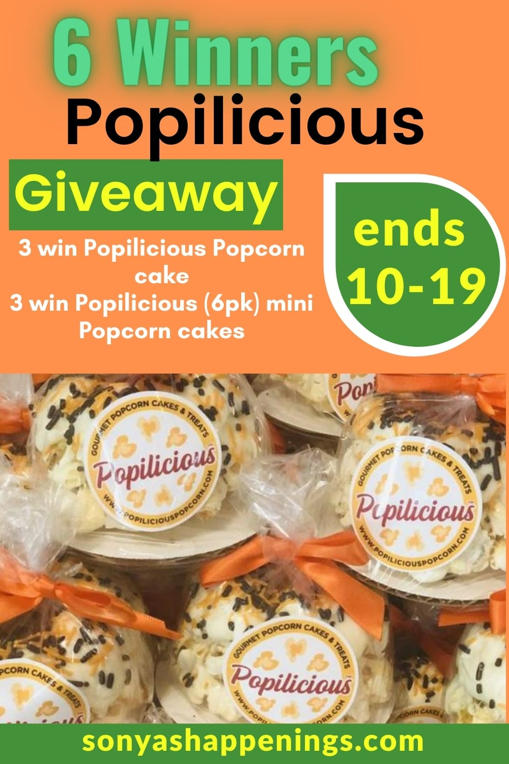 Popilicious cake giveaway (6 winners) ~ ends 10-19