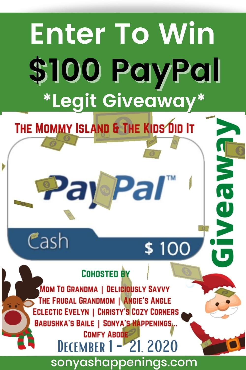 Win $100 PayPal ~ Giveaway Ends 12-21