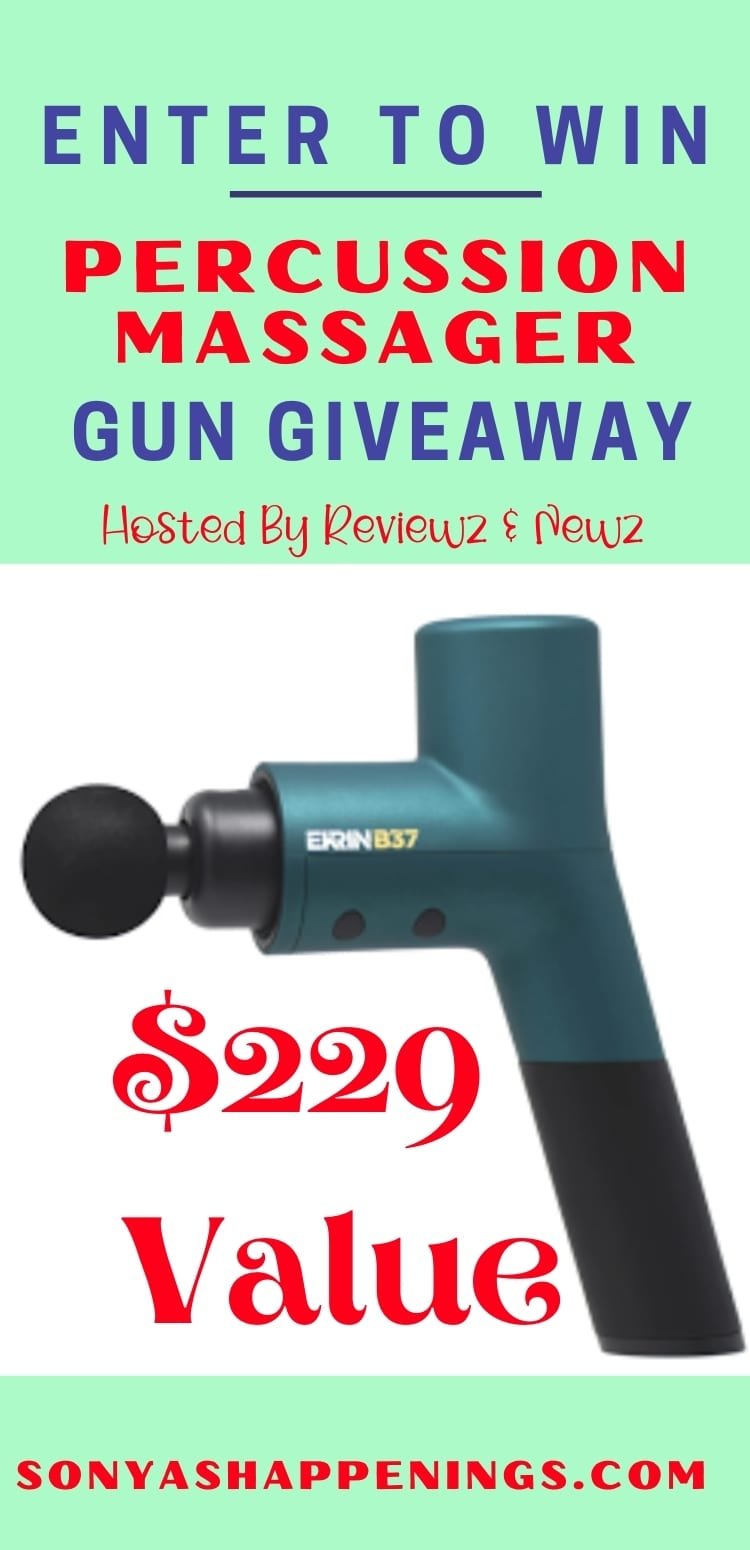 Win a percussion massage gun for athletes (ARV $229) ~ Giveaway ends 6-22